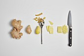 Chopping ginger (step by step)