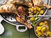 Jamaican chicken with a pineapple salad