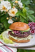 Chuck steak burger with celery remoulade