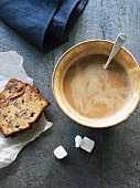 Date and nut bread with cafe au lait