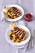 Duck breast with oranges, dried cranberries andcranberry onion chutney