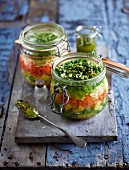 Pesto soup in a jar