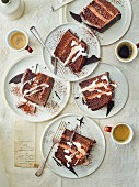 Chocolate ganache gateau slices