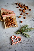 Rosemary and chilli almonds with a candy cane heart