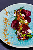 Beetroot salad with salmon