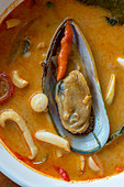 Tom Yam Talay (Spicy Thai-style seafood soup, Vientiane, Laos)
