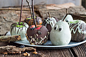 Spooky chocolate glazed fruit for Halloween