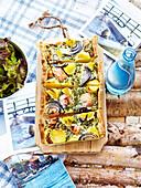 Salmon,potato,dill and red onion quiche