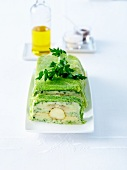 Curly cabbage,white asparagus,fish and herb terrine