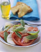 Insalata caprese (tomato and mozzarella salad with basil)