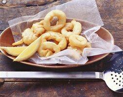 Deep-fried calamari in beer batter