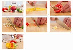 Mango salsa being prepared