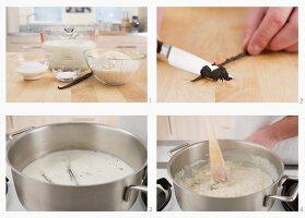 Vanilla rice pudding being prepared