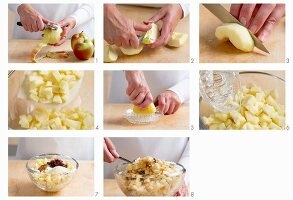 Apple strudel filling being made