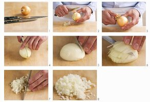 An onion being diced