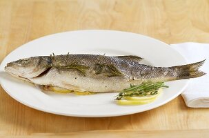 Oven-baked bass