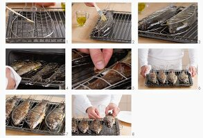 Trout being grilled in the oven