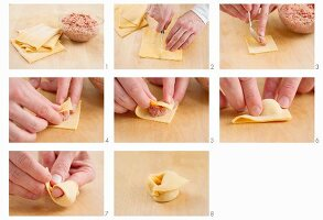 Making tortellini with ground beef