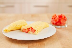 Omlette with tomato filling