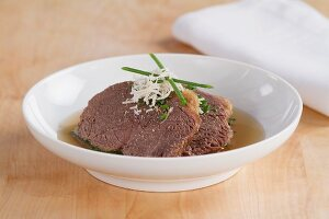 Prime boiled beef with horseradish and broth