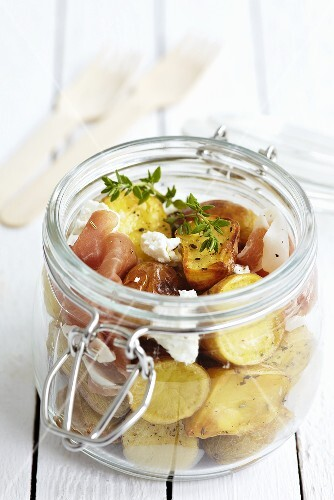 Potato salad with ham for a picnic