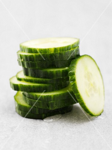 A pile of cucumber slices