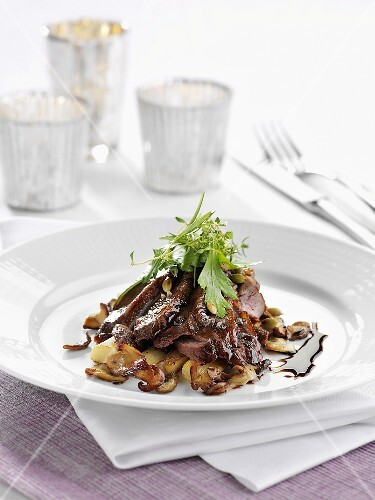 Duck breast with black salsify and mushrooms