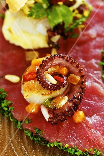 Tuna carpaccio with scallops and octopus