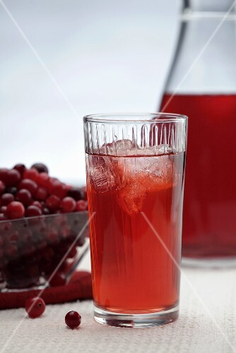 Cranberry juice with ice cubes