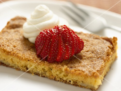 Cornbread with Sliced Strawberries and Whipped Cream