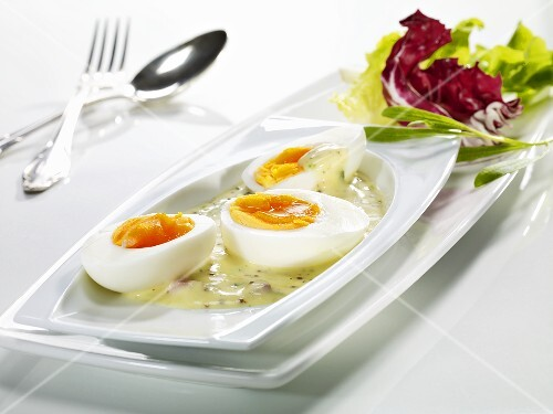 Boiled eggs in a mustard sauce