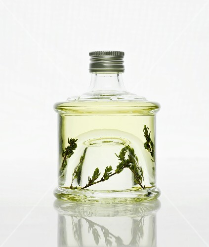 A bottle of thyme vinegar
