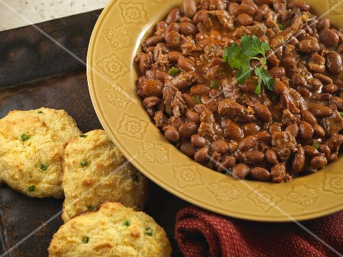 Brisket Baked Beans with Green Chili Cornbread Biscuits