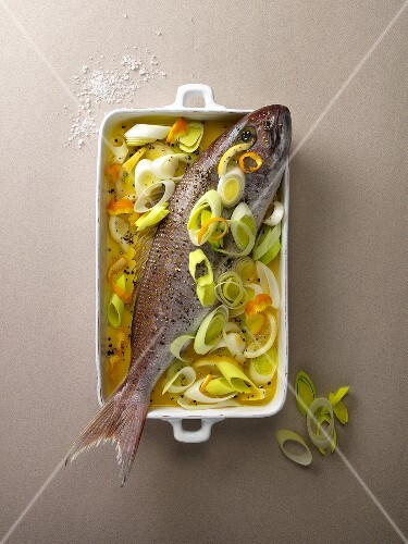 Red snapper with and orange and leek medley, ready to bake