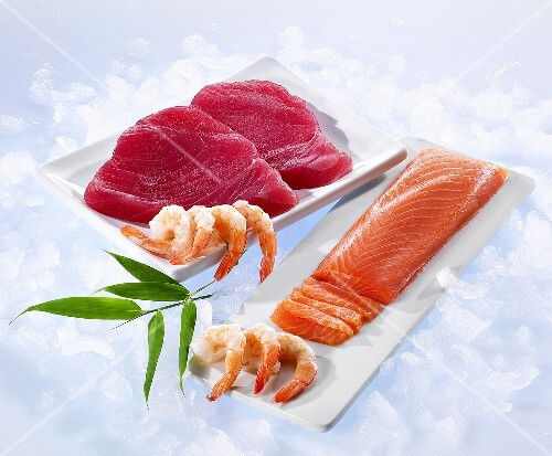 Tuna fish fillets, salmon fillets and shrimp