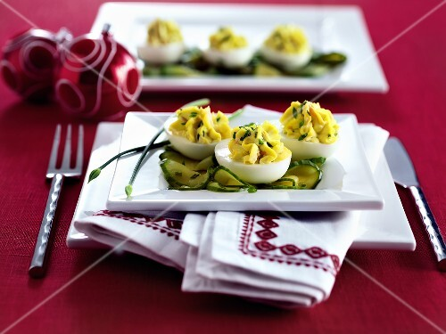 Devilled eggs on cucumber slices