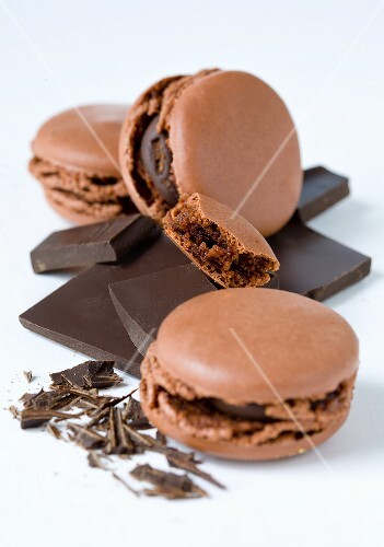 Chocolate macaroons with pieces of choc