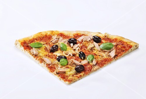 A slice of pizza with tuna, olives and basil
