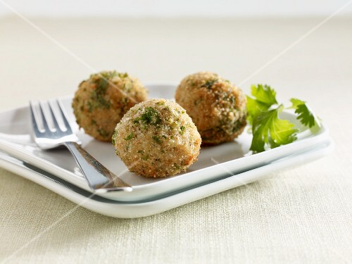 Three risotto cheese dumplings