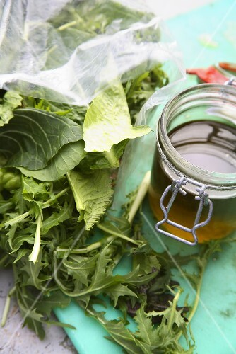 Mixed lettuce leaves and olive oil