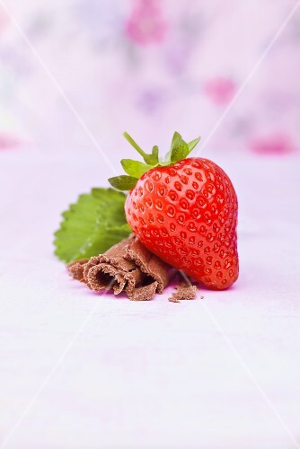 A strawberry with chocolate curls