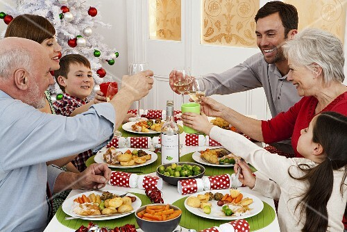 A family enjoying Christmas dinner
