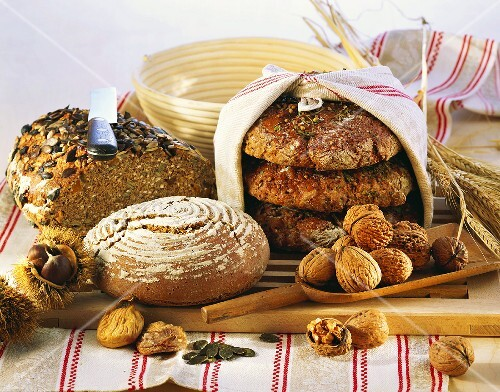 Still life with brown bread and nuts