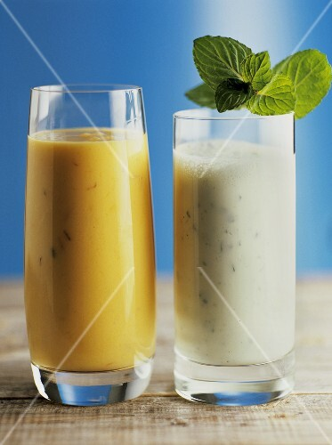 Mango lassi and salty lassi (India)