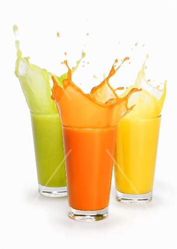 Three fruit juices, splashing