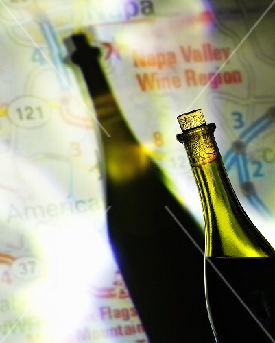 Wine bottle in front of map with shadow