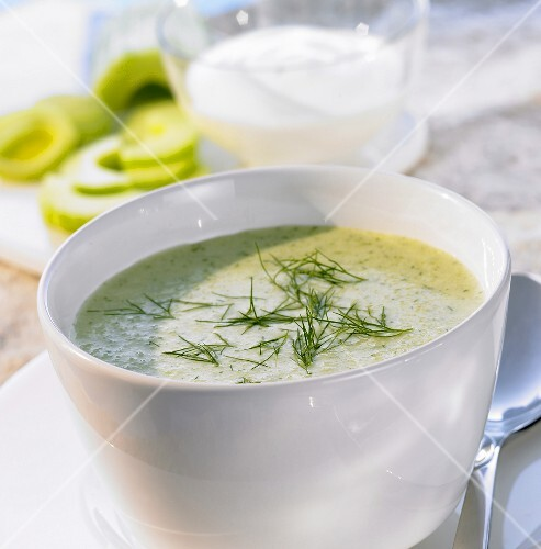 Cold cucumber soup with dill and garlic in soup cup