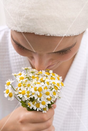 Woman smelling chamomile flowers