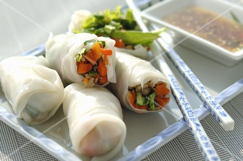 Vietnamese spring rolls filled with pork and vegetables