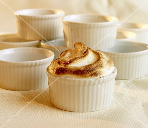 Meringue in Ramekin; Empty Ramekins